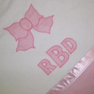 bow monogram blanket
